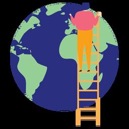 Leiterstufe Leiterhöhe Planet Erde Kontinent flach anheben