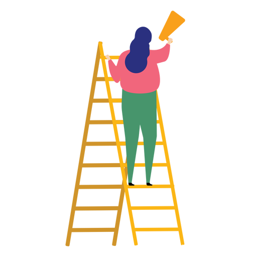 Ladder step ladder height woman megaphone speaking trumpet flat raise Transparent PNG