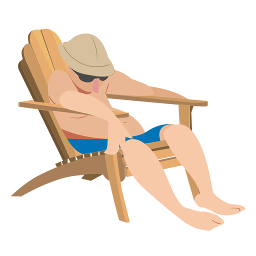 Hombre gafas chaise longue gorra persona plana