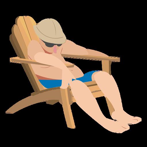 Man glasses chaise longue cap flat person