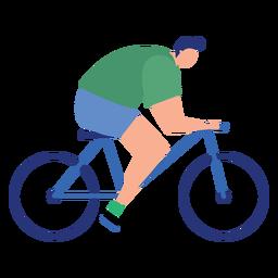 Flache Person des Mannsportlerfahrrad-Fahrrades