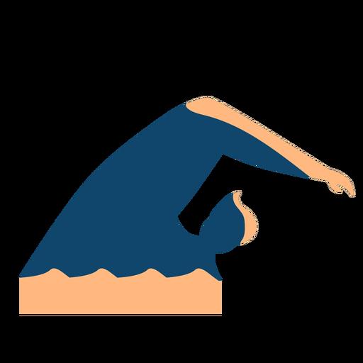 Hombre ola nadando silueta detallada verano Transparent PNG