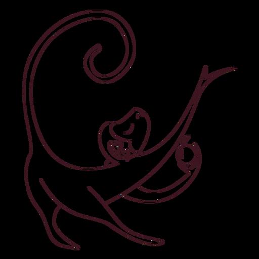 Monkey leg tail muzzle apple line animal Transparent PNG