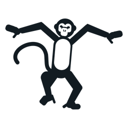 Hocico de cola de pata de mono bailando animal silueta detallada