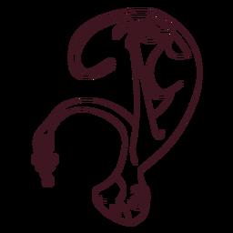 Mono pierna cola hocico uvas línea animal