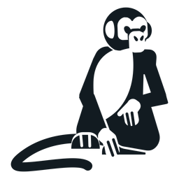 Hocico de cola de pata de mono sentado animal silueta detallada