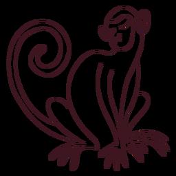 Mono pata cola hocico sentado línea animal