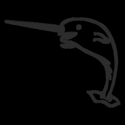 Narval cola colmillo aleta doodle mamífero