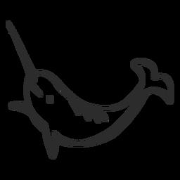 Barbatana de cauda de presa de narwhal doodle mamífero