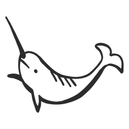 Narwhal colmillo cola flipper doodle mamífero