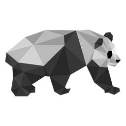 Panda Ohrfleck Fang Fett Low Poly Tier