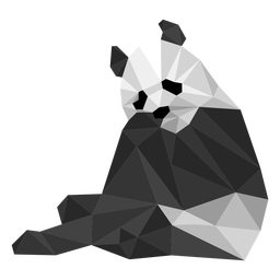Panda sentado boca mancha hocico grasa baja poli animal