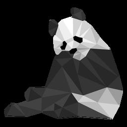 Panda sentado orelha focinho focinho gordura baixo poli animal