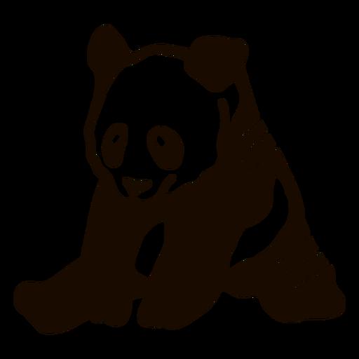 Panda sentado mancha orelha focinho gordo doodle animal Transparent PNG
