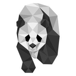 Panda spot ear muzzle fat low poly animal