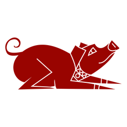 Pig ear snout tail hoof pattern detailed silhouette animal
