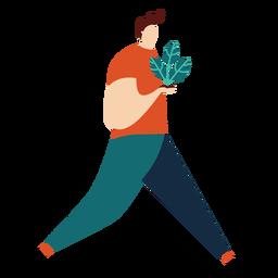Planta homem folha franja pessoa plana