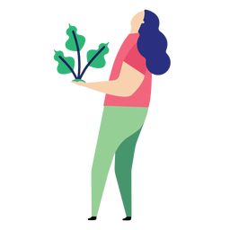 Plant woman leaf flat person