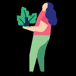 Planta mulher folha pessoa plana