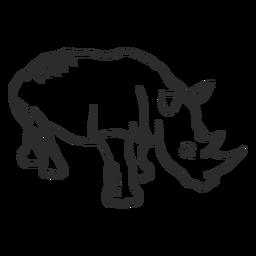 Rinoceronte chifre rinoceronte orelha doodle animal