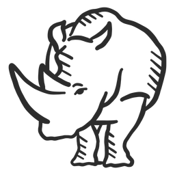 Rinoceronte rinoceronte oreja cuerno doodle animal