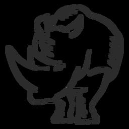 Rinoceronte rinoceronte orelha chifre doodle animal