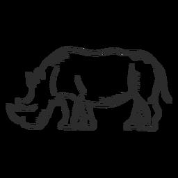 Rinoceronte rinoceronte oreja cuerno cola doodle animal