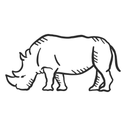 Rinoceronte rinoceronte orelha chifre cauda doodle animal