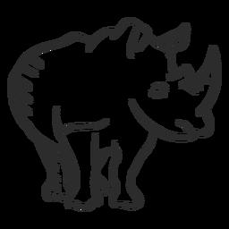 Rinoceronte rinoceronte chifre orelha doodle animal