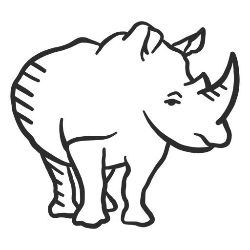 Rhino rhinoceros horn ear doodle animal Transparent PNG