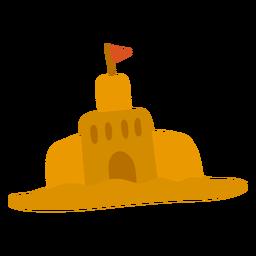 Castillo de arena en forma de bandera plana verano
