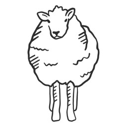 Oveja cordero oreja pezuña lana doodle animal