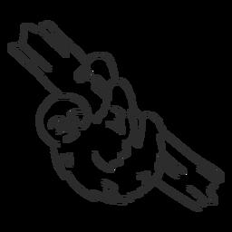 Preguiça ramo garra árvore doodle animal