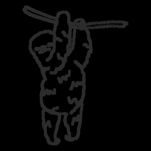 Perezoso rama árbol garra doodle animal