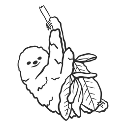 Preguiça galho de árvore garra folha doodle animal
