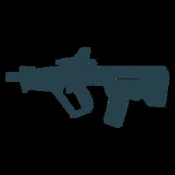 Subfusil ametralladora cargador de barril arma a tope silueta rayada
