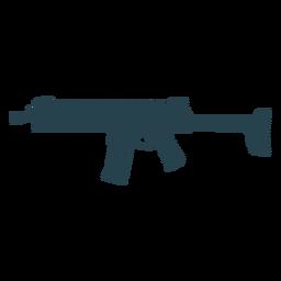 Subfusil ametralladora cargador de cañón arma silueta de rayas a tope