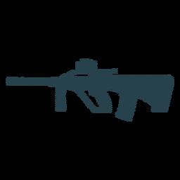 Subfusil ametrallador cargador de barril arma de silueta de rayas
