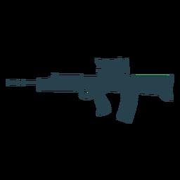 Subfusil ametralladora cargador barril arma trasero silueta pistola