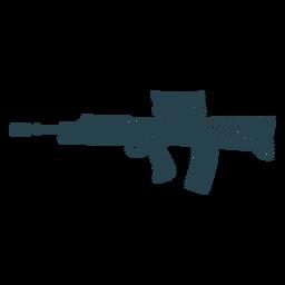 Subfusil ametralladora cargador de barril a tope pistola silueta a rayas