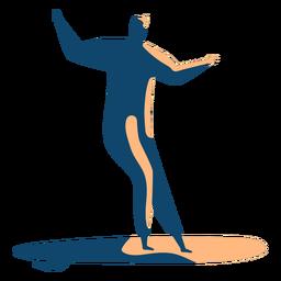 Postura de prancha de surfista homem detalhada silhueta verão