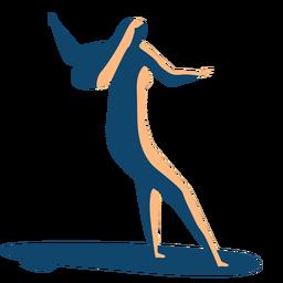 Postura de prancha de surfista mulher detalhada silhueta verão