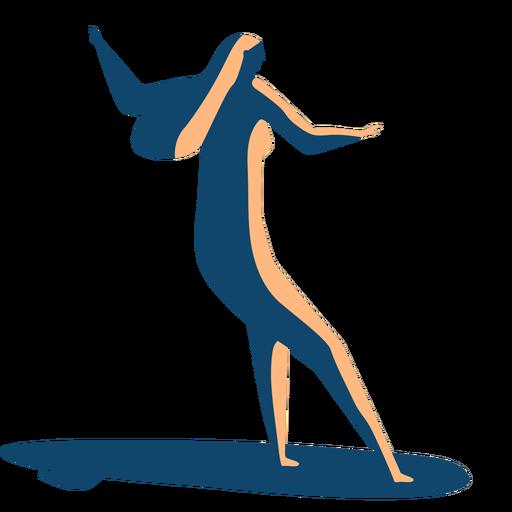 Surfer woman surfboard posture detailed silhouette summer Transparent PNG