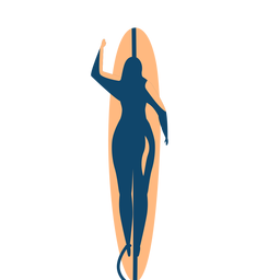 Surfer woman surfboard swimming detailed silhouette summer