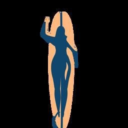 Surfista mulher prancha de surf nadando silhueta detalhada verão