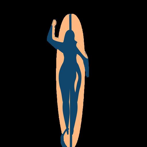 Surfer mujer tabla de surf natación silueta detallada verano Transparent PNG