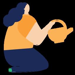 Regador regador pote mulher sentada plana rega
