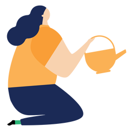 Watering can watering pot woman sitting flat watering