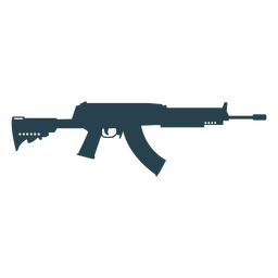 Arma subfusil ametrallador cargador de barril pistola de silueta