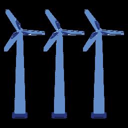 Aerogenerador generador parque eólico tres central eléctrica plana